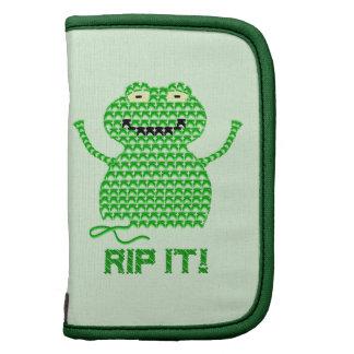 Rip It! Vector Crochet Frog (Green Background) Folio Planner