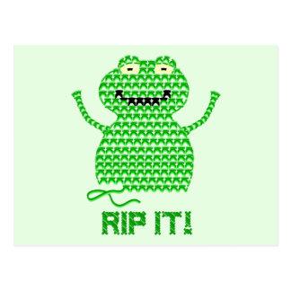 Rip It! Vector Crochet Frog (Green Background) Postcard