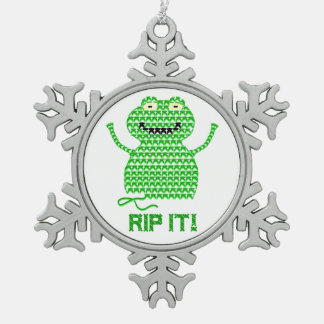 Rip It! Vector Crochet Frog (Green Background) Snowflake Pewter Christmas Ornament