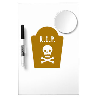 RIP Skull Dry Erase Board With Mirror
