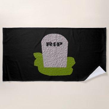 Halloween Themed RIP Tombstone Beach Towel