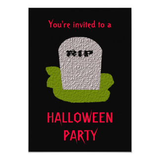 RIP Tombstone Halloween Party Customizable Invitat 5x7 Paper Invitation Card