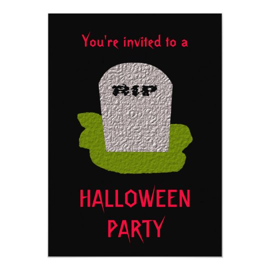 RIP Tombstone Halloween Party Customizable Invitat Card