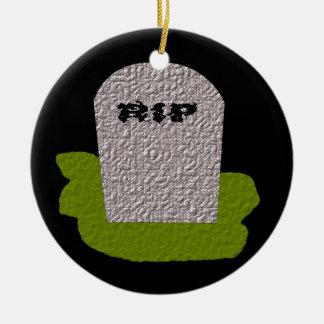 RIP Tombstone Happy Halloween Custom Ceramic Ornament