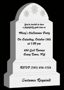 rip tombstone party invitation
