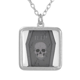 RIP Tombstone Silver Plated Necklace