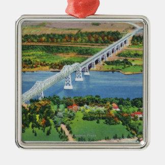 Rip Van Winkle Bridge over Hudson River Metal Ornament