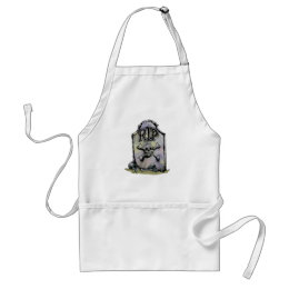 RIP Watercolour Gravestone or Tombstone Adult Apron