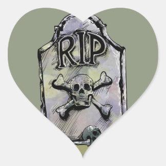 RIP Watercolour Gravestone or Tombstone Heart Sticker