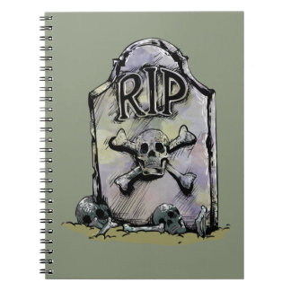 RIP Watercolour Gravestone or Tombstone Spiral Notebook