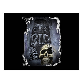 RIP with Skull Postcard
