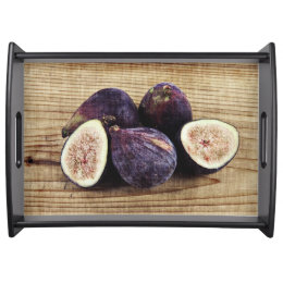 Ripe and delicious purple figs serving tray