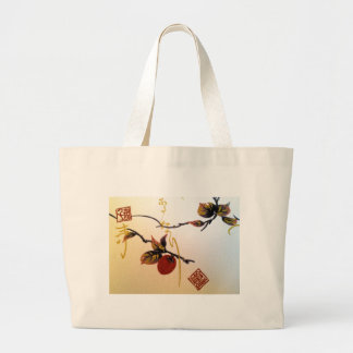 Ripe Cherry on Branch Large Tote Bag