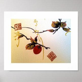 Ripe Cherry on Branch Poster