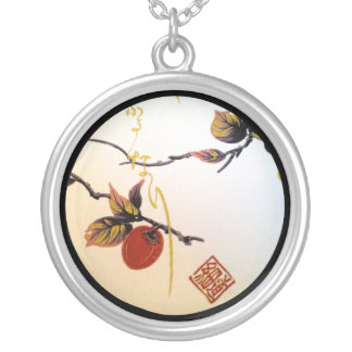 Ripe Cherry on Branch Silver Plated Necklace
