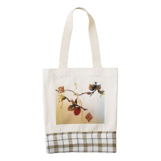 Ripe Cherry on Branch Zazzle HEART Tote Bag