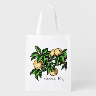 Ripe Fruit Peaches On Branch Optional Wording Reusable Grocery Bag