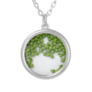 Ripe green peas on a plate silver plated necklace