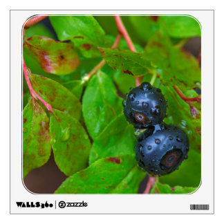 Ripe huckleberries in a light rain wall decal