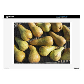 Ripe pears in box decals for laptops