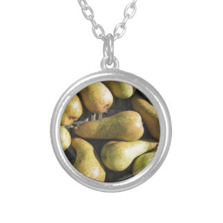 Ripe pears in box silver plated necklace