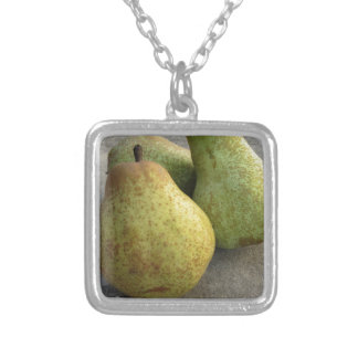 Ripe pears silver plated necklace