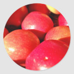 Ripe red apples round stickers