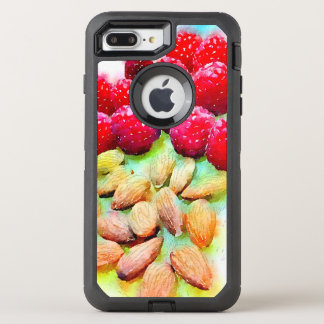 Ripe Red Raspberries and Almond Watercolor Artwork OtterBox Defender iPhone 8 Plus/7 Plus Case