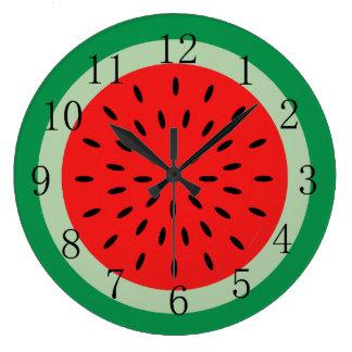 Ripe Red Watermelon Kitchen Clock Black Numerals