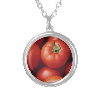Ripe Tomatoes - Bright Red, Fresh Silver Plated Necklace