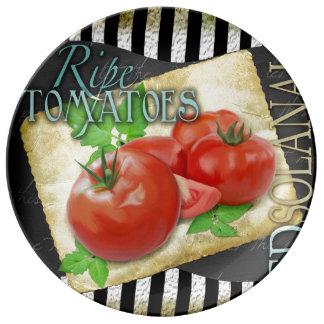 ripe tomatoes porcelain plate