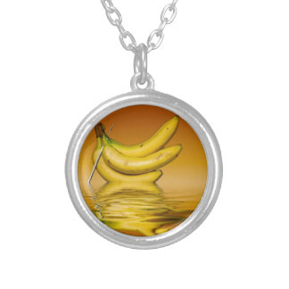 Ripe Yellow Bananas Silver Plated Necklace