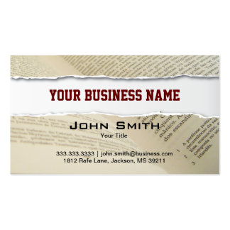Ripped Book Pages business card