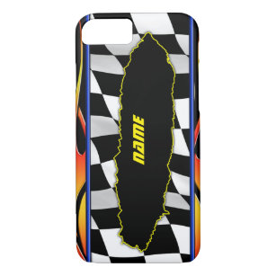 Ripped Checkered Flag And Hot Rod Flames iPhone 8/7 Case