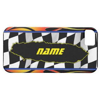 Ripped Checkered Flag And Hot Rod Flames iPhone SE/5/5s Case