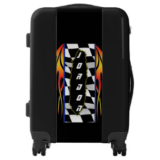 Ripped Checkered Flag And Hot Rod Flames Luggage