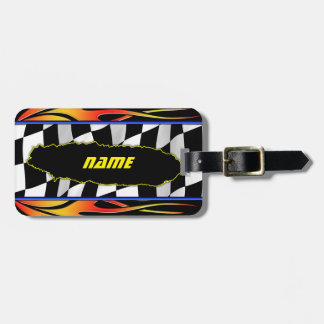 Ripped Checkered Flag And Hot Rod Flames Luggage Tag