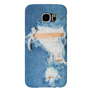 Ripped Frayed Faded Denim Blue Jeans Samsung Galaxy S6 Cases
