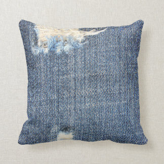Ripped Jeans Faux Look Pillow