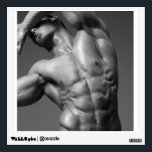 """Ripped Male Bodybuilder &amp; Fitness Model Decal<br><div class=""""desc"""">Black and white photo of ripped male bodybuilder and fitness model.</div>"""