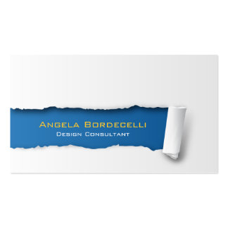 Ripped Paper Blue Business Card