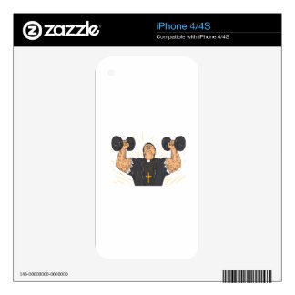 Ripped Priest Exercise Dumbbell Drawing iPhone 4 Decal