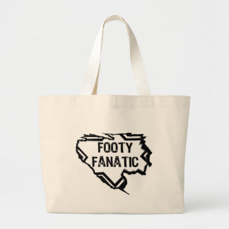 Ripped Star-Footy Fanatic- Black Tote Bags