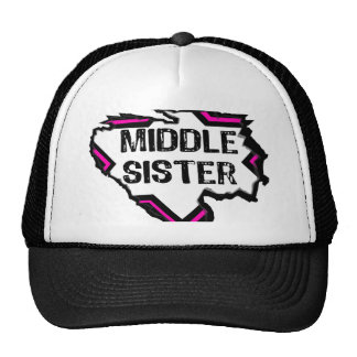 Ripped Star- Super Middle Sister -Black Pink Trucker Hat