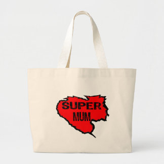 Ripped Super Mum- Black Text Red Bags