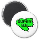 Ripped Super Mum- Green Text Black Magnets