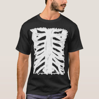Ripped Thorough Draw Cartoon Skeletion Ribs -White T-Shirt