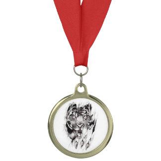 ripped tiger body tattoo art medal