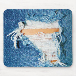 Ripped Torn Denim Blue Jeans Mouse Pad