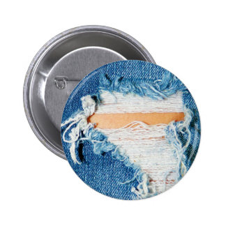 Ripped Torn Denim Blue Jeans Pinback Button